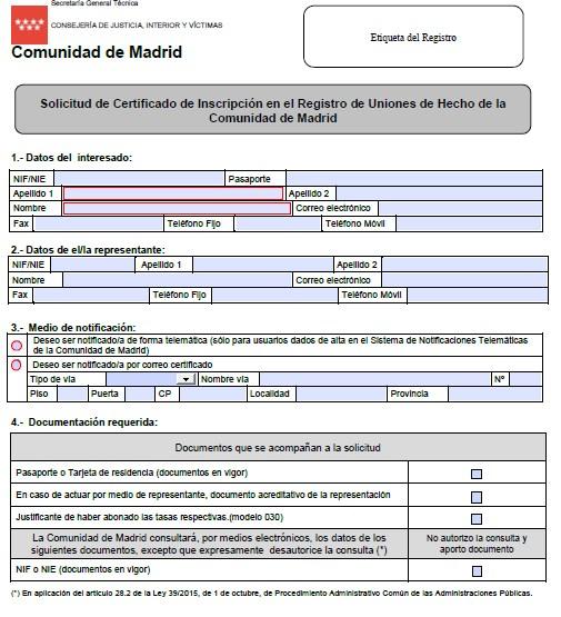 modelo certificado de convivencia de la comunidad de Madrid