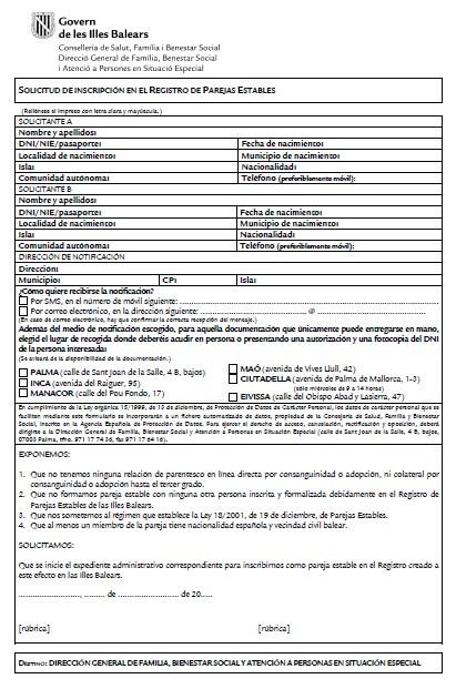 modelo certificado de convivencia de las isla baleares